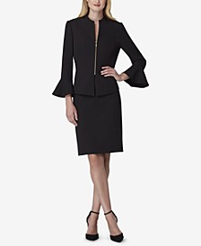 Petite Zip-Front Bell-Sleeve Jacket & Skirt Suit