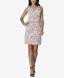 Tahari ASL Boucle Fringe-Trim Shift Dress