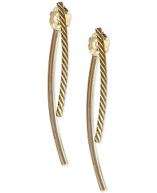 Polished & Engraved Curved Front & Back Earrings in 10k Gold