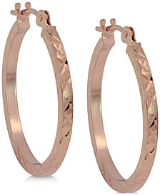 Textured Flat Hoop Earrings in 10k Rose Gold
