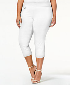 Alfani Plus Size Tummy-Control Pull-On Capri Pants, Created for Macy's
