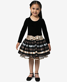 Bonnie Jean Little Girls Velvet Jacquard Striped Dress