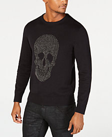 I.N.C. Men's Metallic Skull Sweater, Created for Macy's