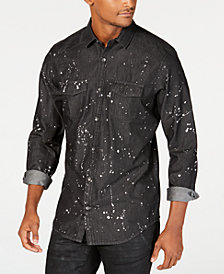 I.N.C. Men's Gray Denim Paint Splatter Shirt, Created for Macy's