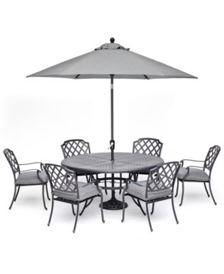 """Vintage II Outdoor Cast Aluminum 7-Pc. Dining Set (61"""" Round Table & 6 Dining Chairs) With Sunbrella® Cushions, Created for Macy's"""