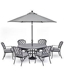 "Vintage II Outdoor Cast Aluminum 7-Pc. Dining Set (61"" Round Table & 6 Dining Chairs) With Sunbrella® Cushions, Created for Macy's"