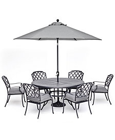"Grove Hill II Outdoor Cast Aluminum 7-Pc. Dining Set (61"" Round Table & 6 Dining Chairs) With Sunbrella® Cushions, Created For Macy's"