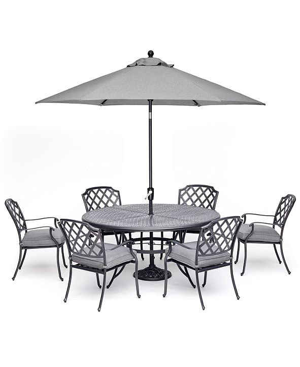 "Furniture Vintage II Outdoor Cast Aluminum 7-Pc. Dining Set (61"" Round Table & 6 Dining Chairs) With Sunbrella® Cushions, Created for Macy's"