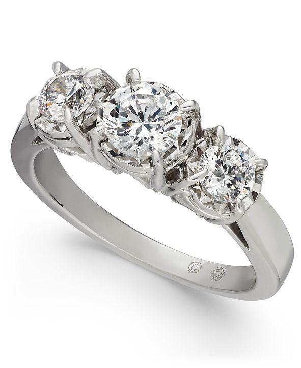 Macy's Diamond Trinity Engagement Ring (1 ct. t.w.) in 14k Whtie Gold