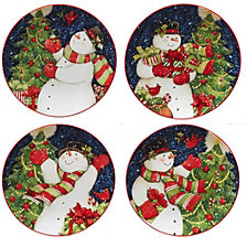 Certified International Starry Night Snowman 4-Pc. Dessert Plates asst.