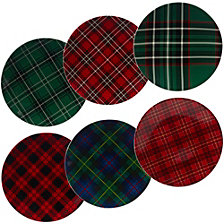 Certified International Christmas Plaid 6-Pc. Dinner Plate asst.