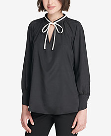DKNY Tie-Neck Blouse, Created for Macy's