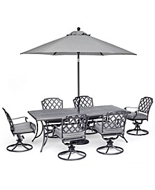 "Grove Hill II Outdoor Cast Aluminum 7-Pc. Dining Set (84"" X 42"" Table & 6 Swivel Chairs) With Sunbrella® Cushions, Created For Macy's"