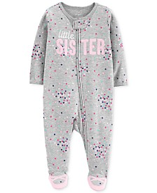 Carter's Baby Girls 1-Pc. Sister Cotton Footed Pajamas
