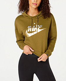 Nike Sportswear Rally Metallic-Logo Fleece Cropped Hoodie