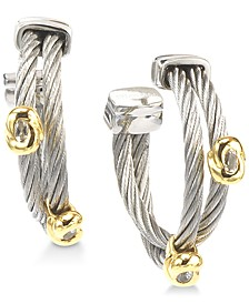 White Topaz Accent Two-Tone Hoop Earrings in Stainless Steel & 18k Gold-Plated Sterling Silver