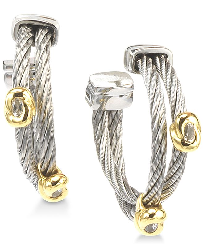 CHARRIOL White Topaz Accent Two-Tone Hoop Earrings in Stainless Steel & 18k Gold-Plated Sterling Silver
