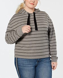 Love Tribe Plus Size Tonal-Stripe Pullover Hoodie