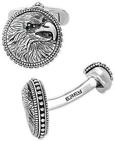 EFFY® Men's Black Spinel Eagle Cuff Links in Sterling Silver