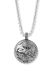 "EFFY® Men's Black Spinel Eagle 22"" Pendant Necklace in Sterling Silver"