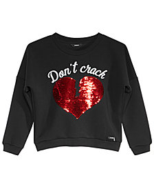 GUESS Big Girls Heart Sequin Fleece Sweatshirt