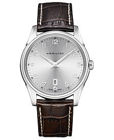 Men's Swiss Jazzmaster Thinline Brown Leather Strap Watch 42mm