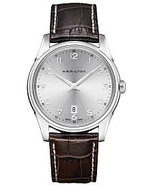 Hamilton Men's Swiss Jazzmaster Thinline Brown Leather Strap Watch 42mm