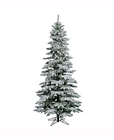7.5 ft Flocked Utica Fir Slim Artificial Christmas Tree With 550 Multi Lights