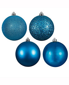 "Vickerman 3"" Turquoise 4-Finish Ball Christmas Ornament"