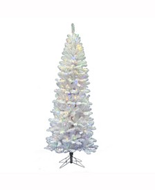 7.5 ft White Salem Pencil Pine Artificial Christmas Tree With 350 Multi-Colored Led Lights