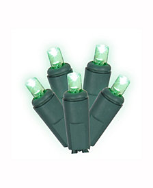 Vickerman 50 Green Twinkle Wide Angle Led Light On Green Wire, 25' Christmas Light Strand