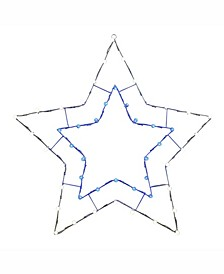"""48"""" C7 Led Blue White 5 Point Star Wire Silhouette"""