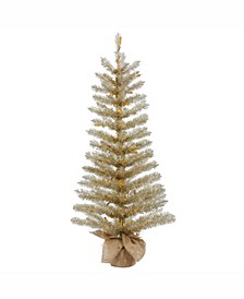 60 inch Champagne Tinsel Artificial Christmas Tree Unlit