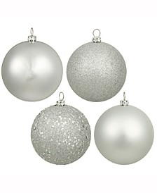 "1.6"" Silver Splendor 4-Finish Ball Christmas Ornament, 96 Per Box"