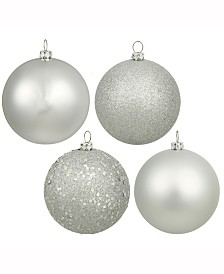 "Vickerman 1.6"" Silver Splendor 4-Finish Ball Christmas Ornament, 96 Per Box"
