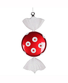 "Vickerman 13"" Red-White Flat Polka Dot Candy Christmas Ornament"
