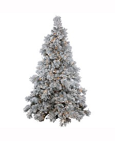 4.5 ft Flocked Alberta Artificial Christmas Tree With 250 Clear Lights