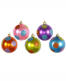 "Vickerman 2.4"" Multi-Colored Candy Polka Dot Christmas Ball Ornament, 15 Per Box"