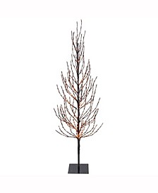 3' Brown Artificial Christmas Tree With 200 Orange Led Lights