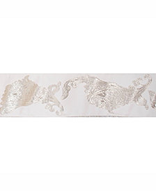 "Vickerman 4"" Gold-Silver Paisley Jacquard Christmas Ribbon"