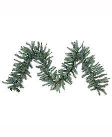 Vickerman 9 ft X 18 inch Colorado Blue Spruce Garland, 260 Pe/Pvc Tips, Battery Operated 105 Led