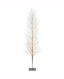 8'  Tree, 800L Warm White Lights, Square Metal Base