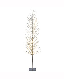 8'  Tree, 800L Warm White Lights, Square Metal Base