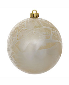 "Vickerman 8"" Champagne Shatterproof Crackle Ball Christmas Ornaments"