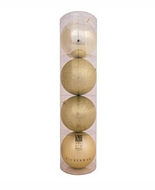"12"" Champagne 4-Finish Ball Christmas Ornament, 4 Per Bag"