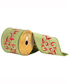 """4"""" X 10Yd Green Ribbon With Red Embroidered Vine"""
