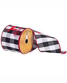 """4"""" X 10Yd Red Swirl Embroidered Reindeer On White And Black Plaid With A Red Edge"""