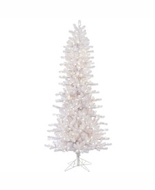 6.5 ft Crystal White Pine Slim Artificial Christmas Tree With 400 Warm White Pine Led Lights