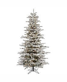 6.5 ft Flocked Sierra Fir Slim Artificial Christmas Tree With 550 Clear Lights