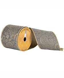 """4"""" X 10Yd Silver Ribbon With Embroidered Jacquard Paisley"""